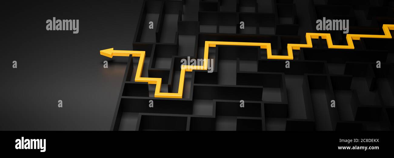 3d rendering: Concept - solving a complex problem. Black maze and floor with yellow solution path with arrow. Low key image, banner size. Stock Photo