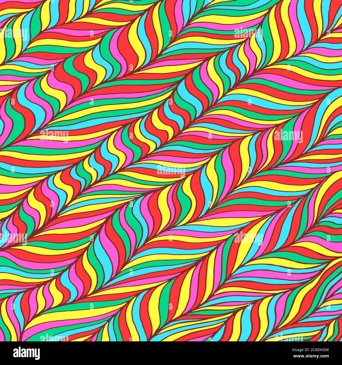 Doodle pattern background. Zentangle art. Rainbow colors. Trippy lollipop pattern. Neon color floral organic ornament. Psychedelic texture. Vector ill Stock Vector