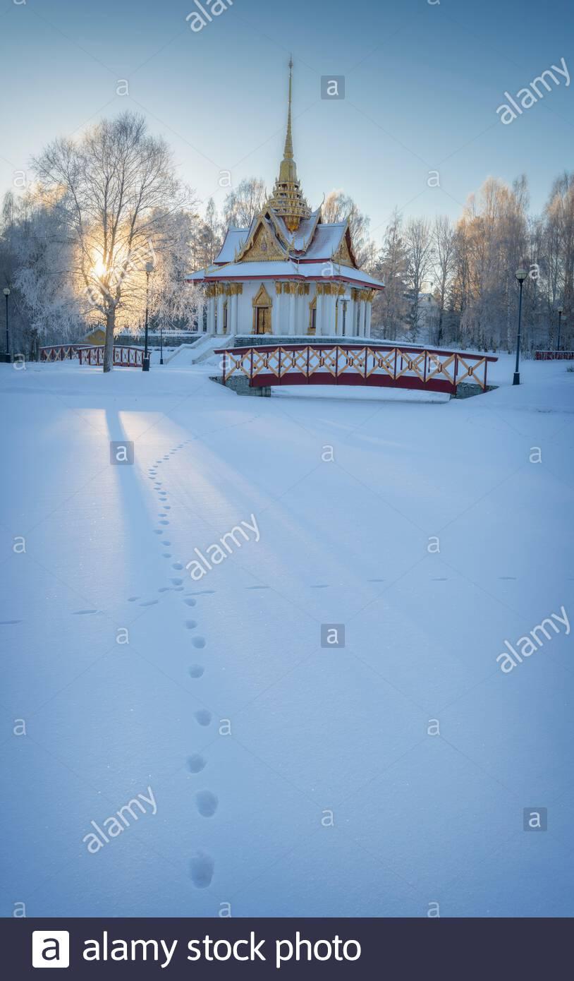 Thai paviljong is standing in utanede in Sweden Stock Photo