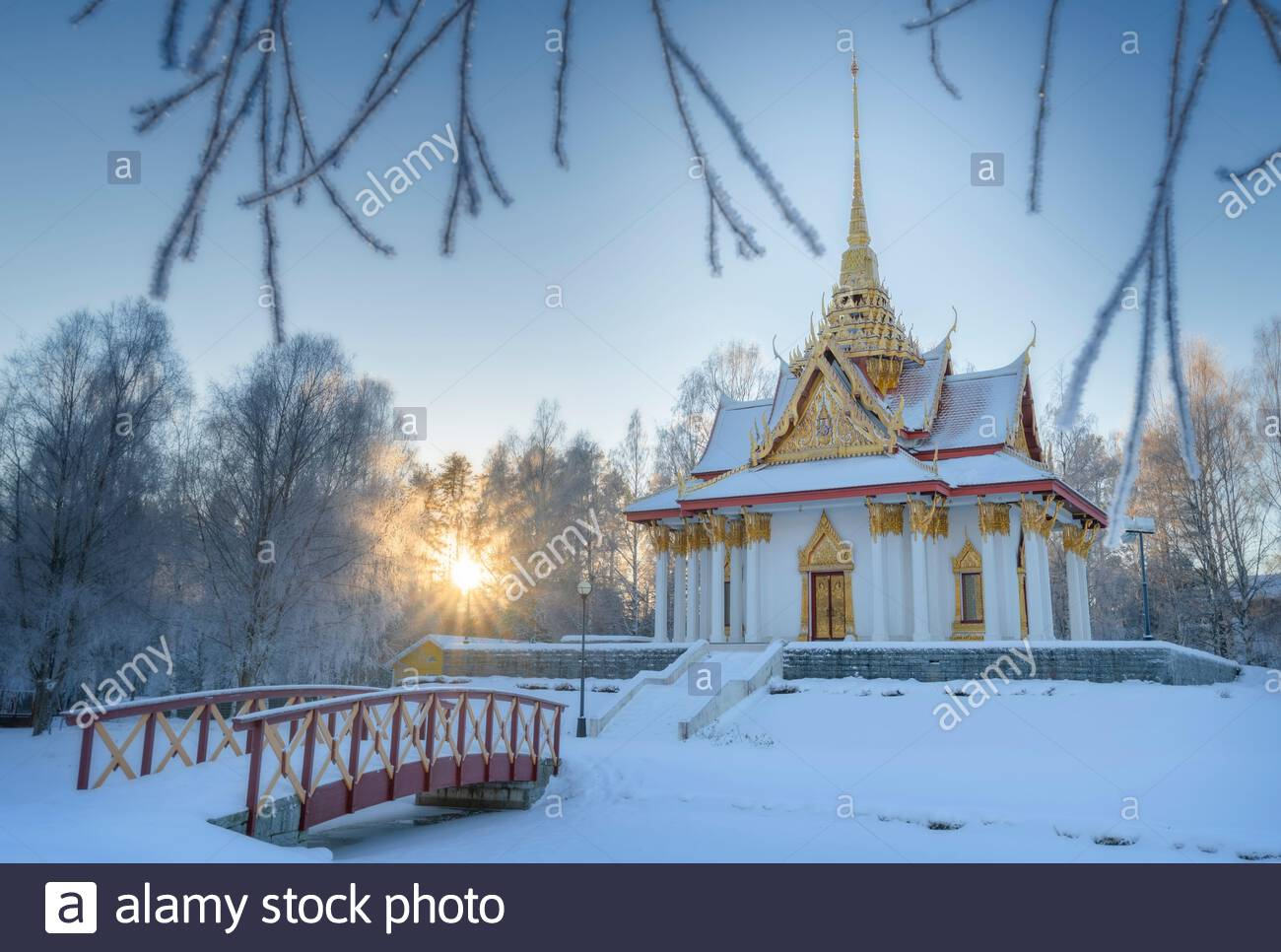 Thai paviljong with an bridge standing in utanede in Sweden Stock Photo