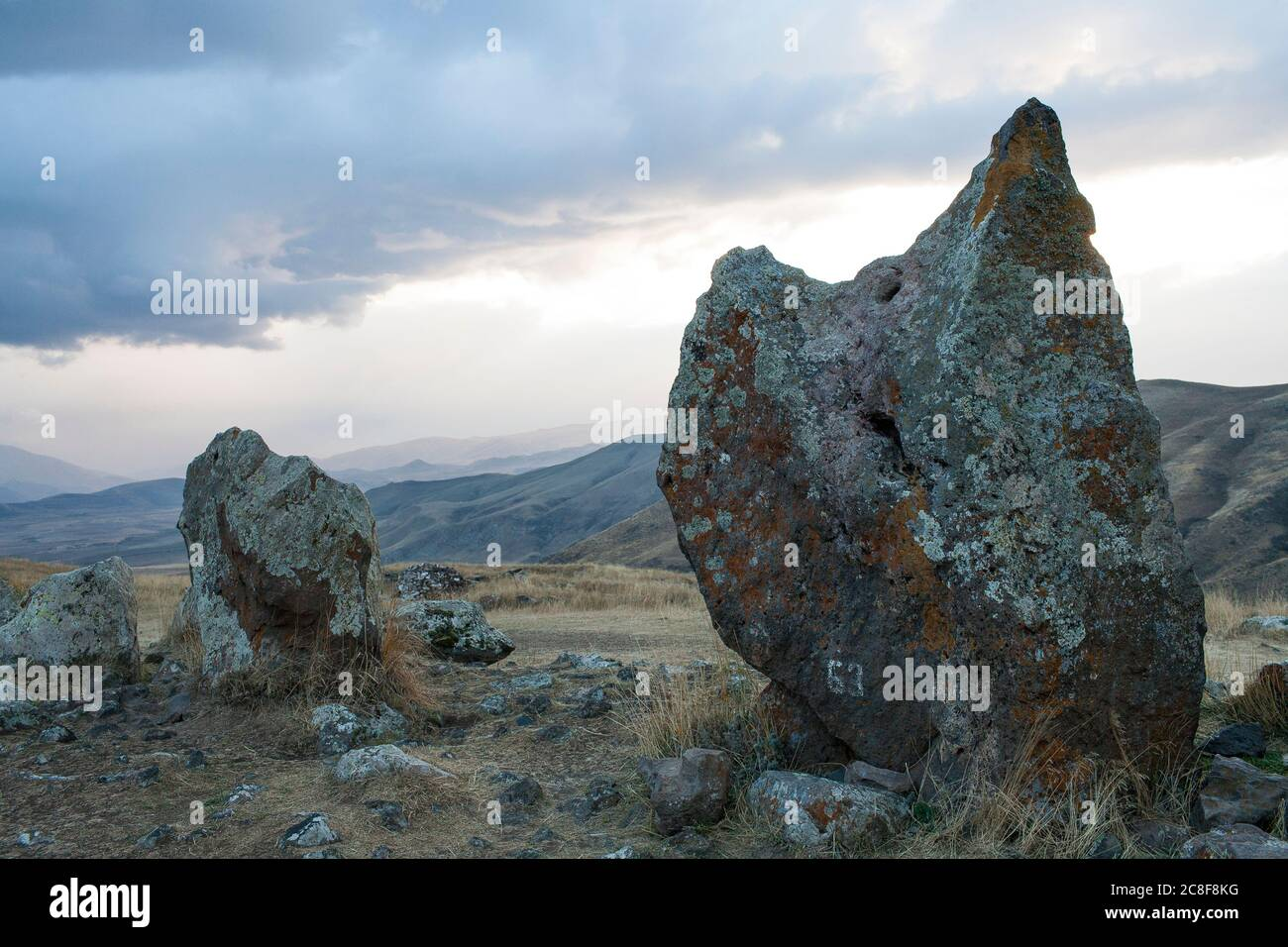 Carahunge, set on a dramatic plain, is a prehistoric archaeological site near the town of Sisian in the Syunik Province of Armenia. Stock Photo