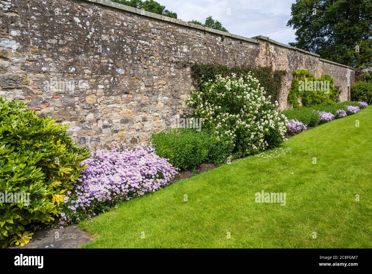 Walled Garden at Falkland Palace in village of Falkland in Fife, Scotland, UK Stock Photo