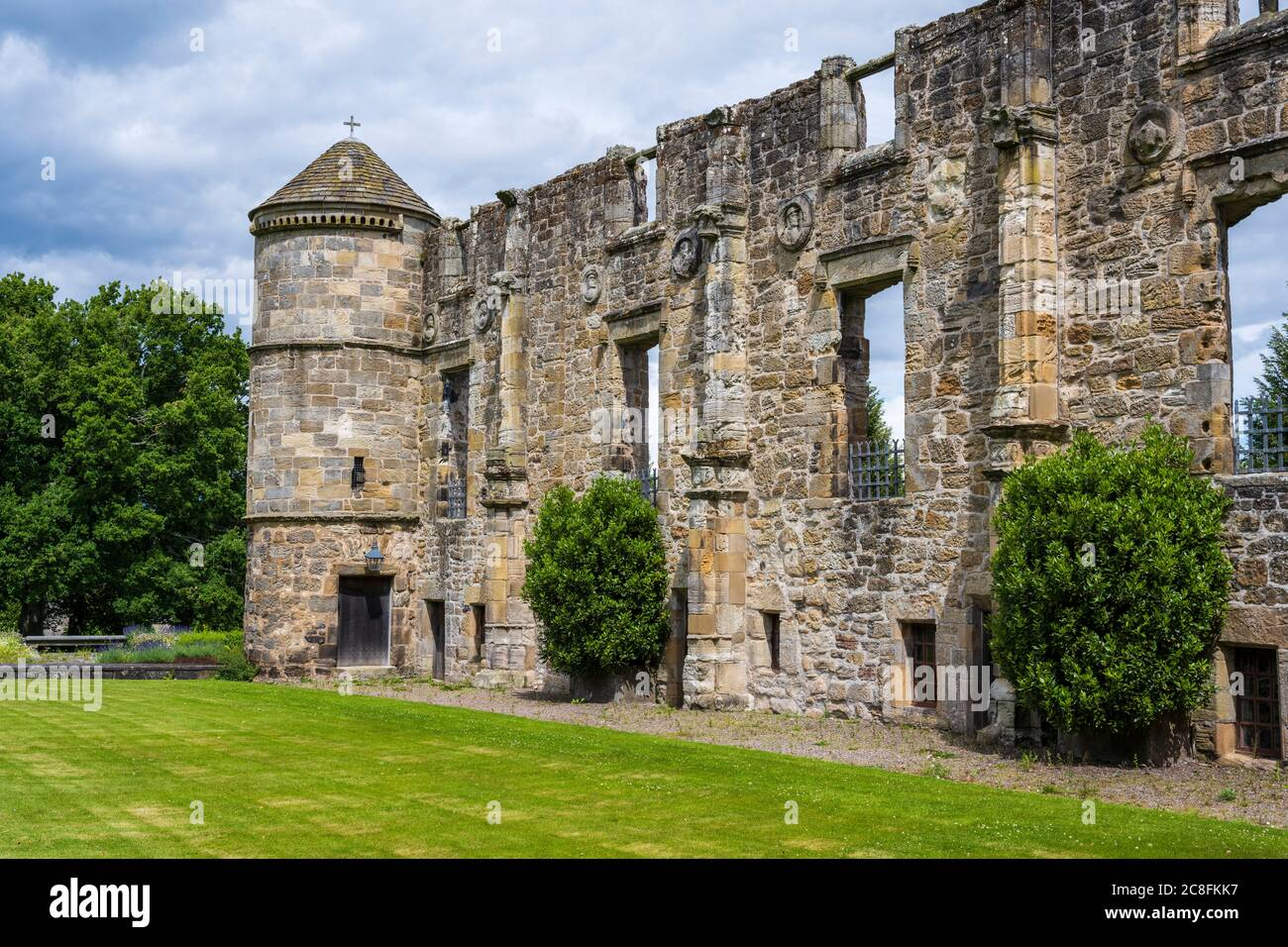 Ruins of East Range at Falkland Palace in the village of Falkland in Fife, Scotland, UK Stock Photo