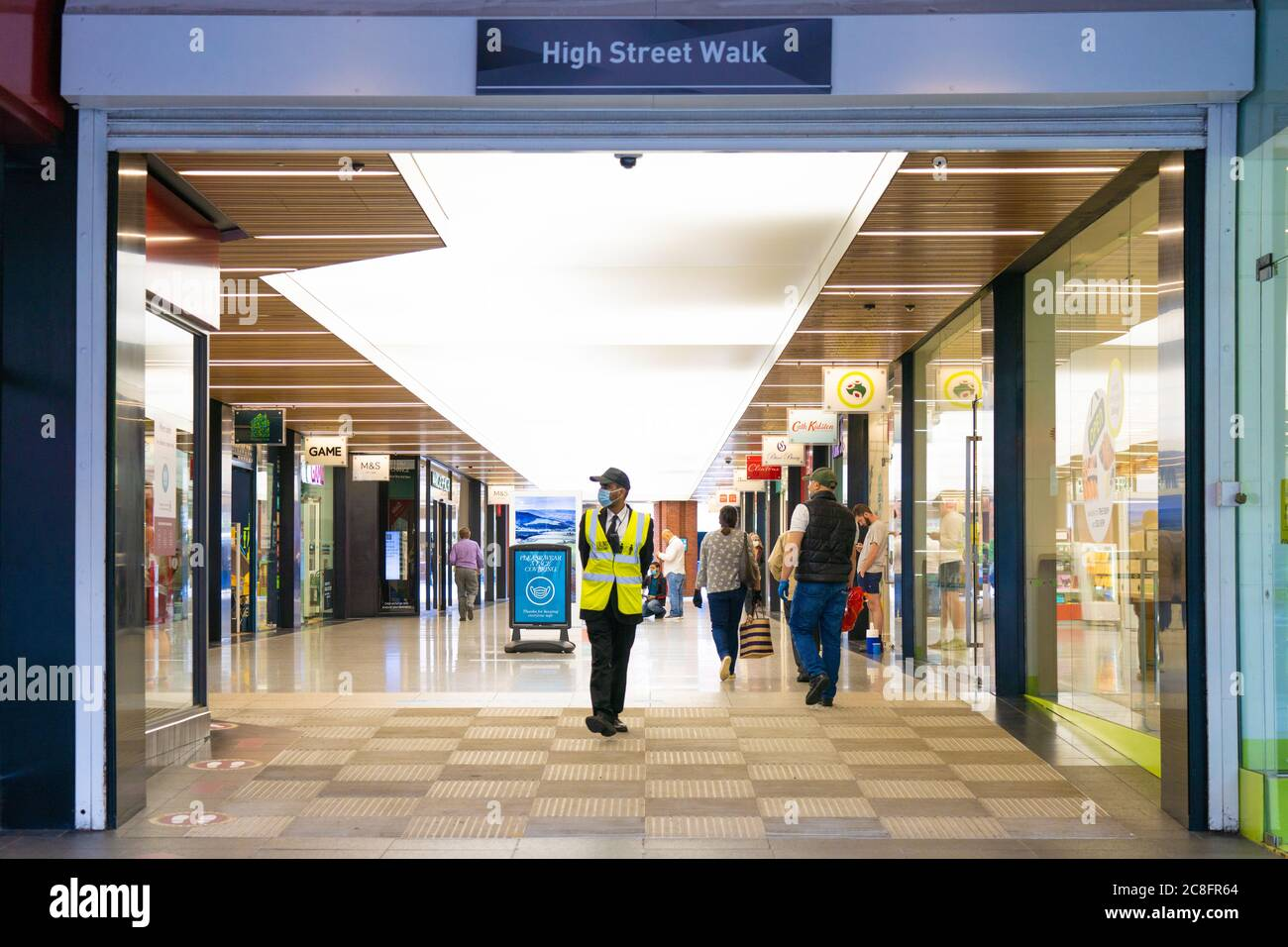 London Uk Friday 24 July 2020 A Security Guard Wearing Protective Masks In Ealing On The