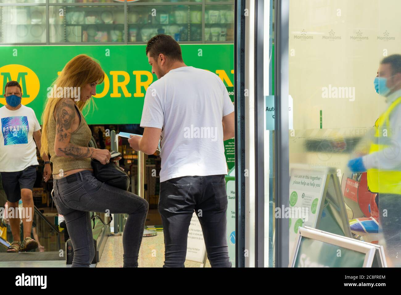 London Uk Friday 24 July 2020 Shoppers Are Given Protective Masks On Entering A Supermarket In