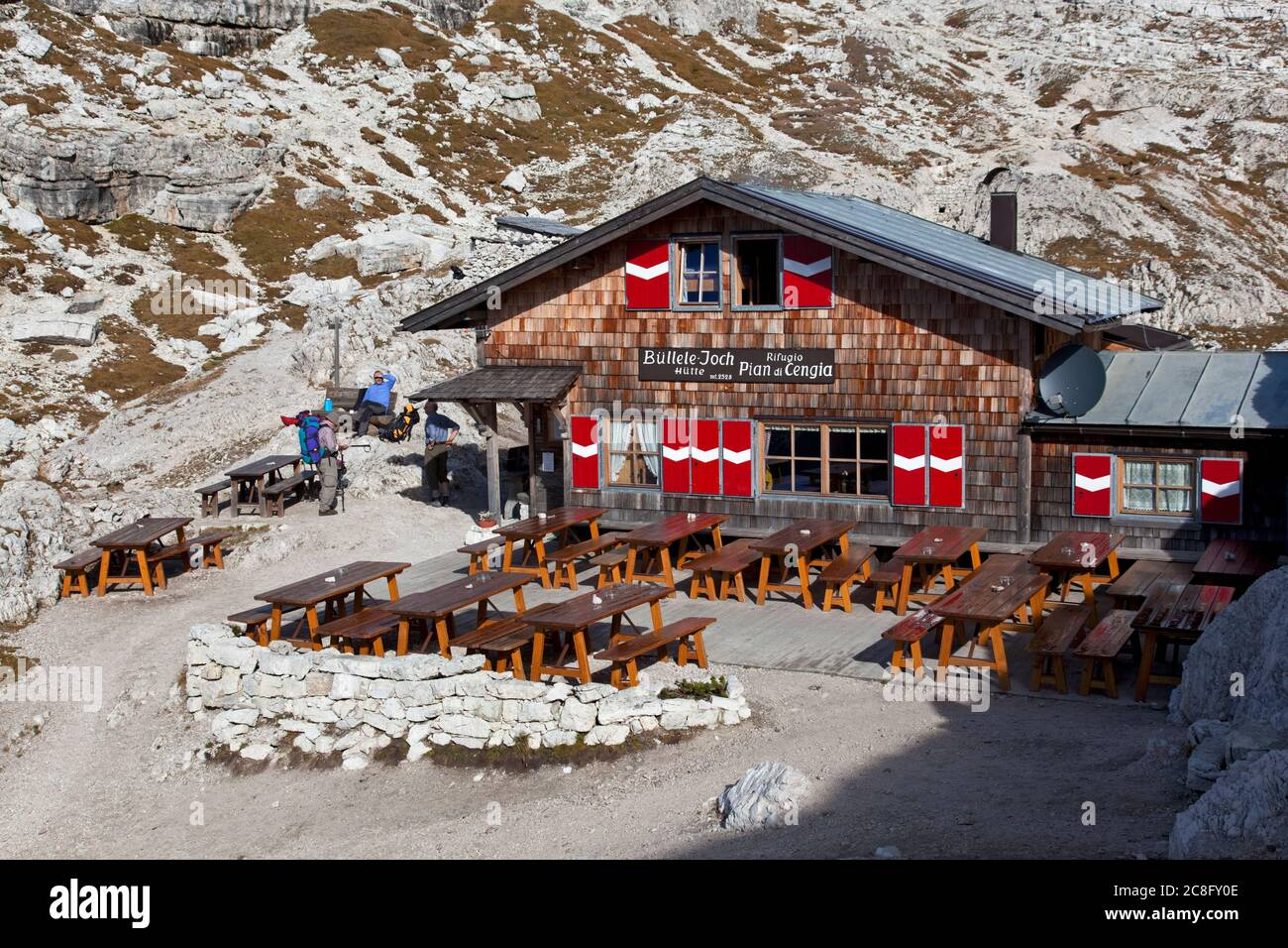 geography / travel, Italy, South Tyrol, bothy at Buellele-Joch in the Sexten Dolomites, Additional-Rights-Clearance-Info-Not-Available Stock Photo