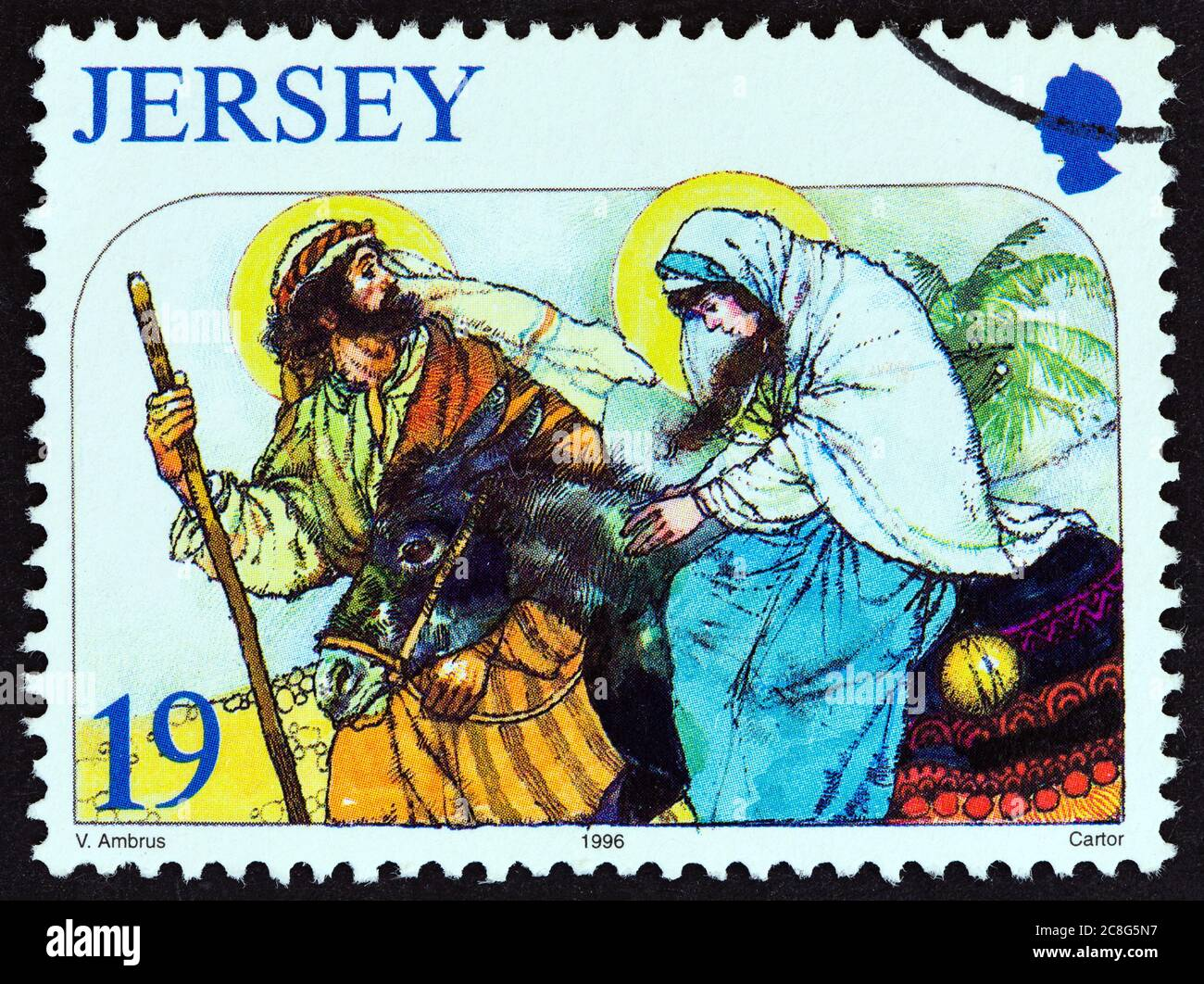 """JERSEY - CIRCA 1996: A stamp printed in United Kingdom from the """"Christmas"""" issue shows The Journey to Bethlehem, circa 1996. Stock Photo"""