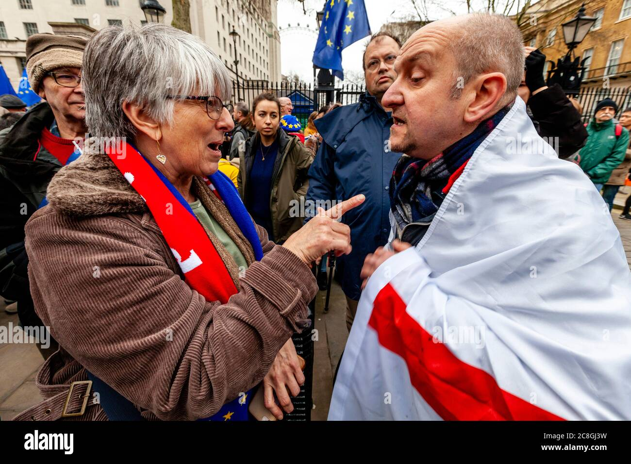 A Brexit Supporter Argues With Pro EU Supporters Near Parliament Square, London, UK - Stock Photo
