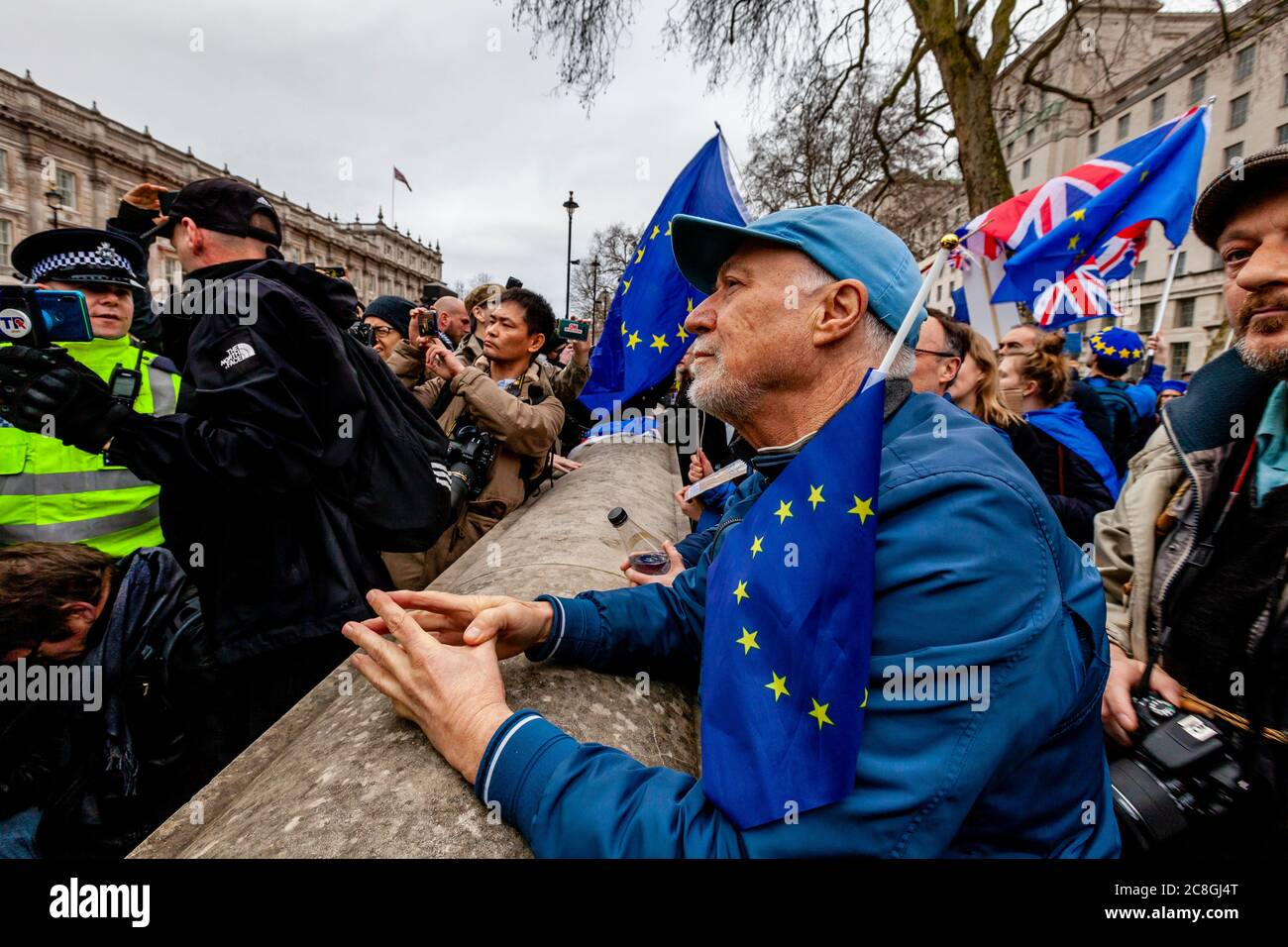Pro EU supporters protest near Parliament Square on the day Britain is due to officially leave the EU, London, UK - Stock Photo