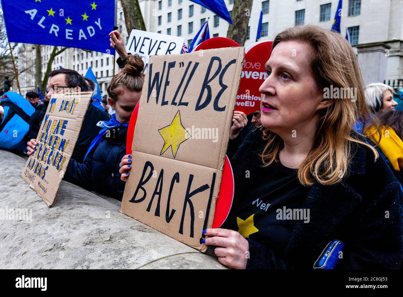 Pro EU supporters protest near Parliament Square on the day Britain is due to officially leave the EU, Whitehall, London, UK - Stock Photo