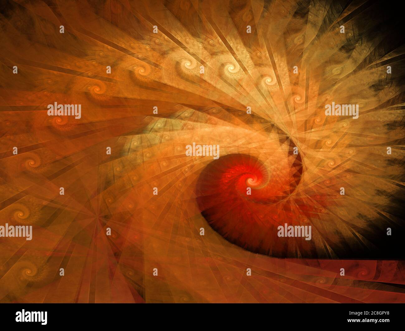 Spiral Art - Flame Fractal Stock Photo