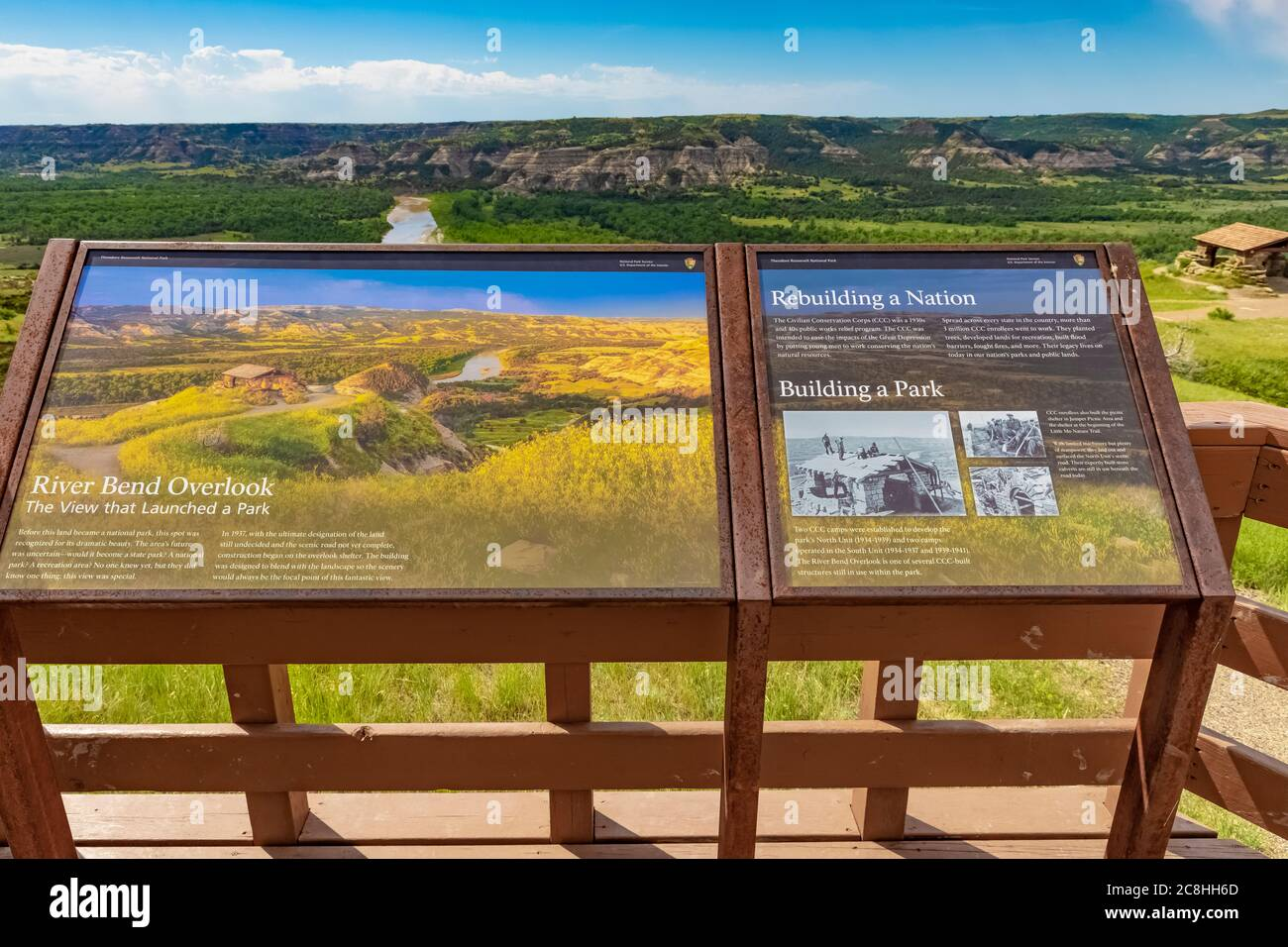 Interpretive sign for River Bend Overlook, built by the CCC in the 1930s, in Theodore Roosevelt National Park, North Unit, in North Dakota, USA Stock Photo