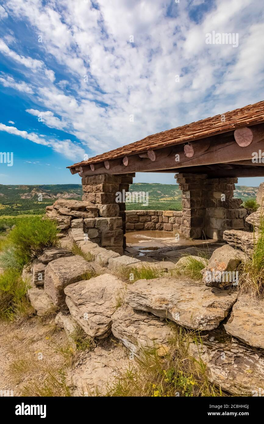 River Bend Overlook, built by the CCC in the 1930s, in Theodore Roosevelt National Park, North Unit, in North Dakota, USA Stock Photo