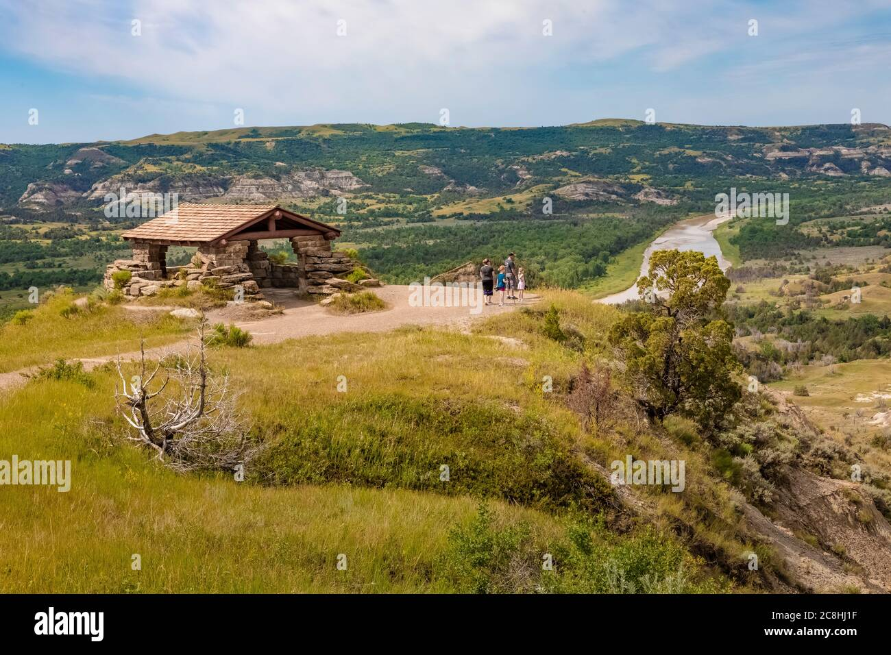 River Bend Overlook, built by the CCC in the 1930s, in Theodore Roosevelt National Park, North Unit, in North Dakota, USA [No model releases; availabl Stock Photo