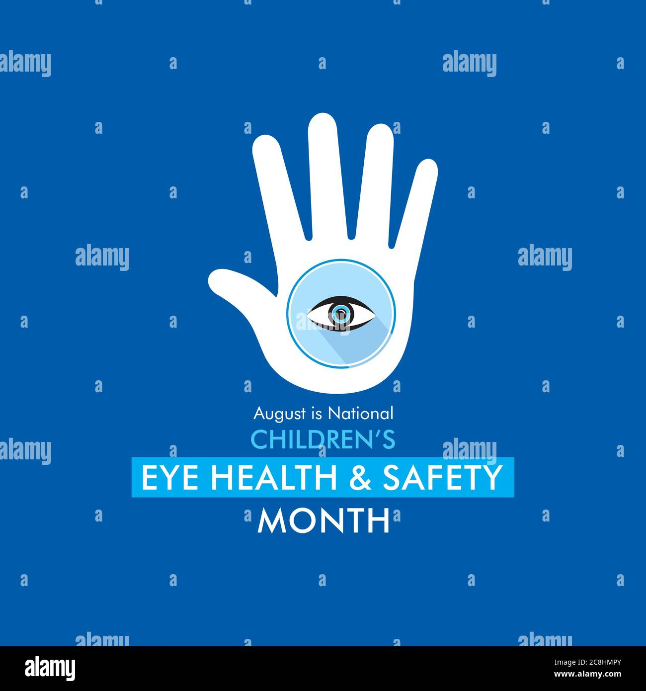 august is children's eye health and safety month awareness poster design Stock Vector