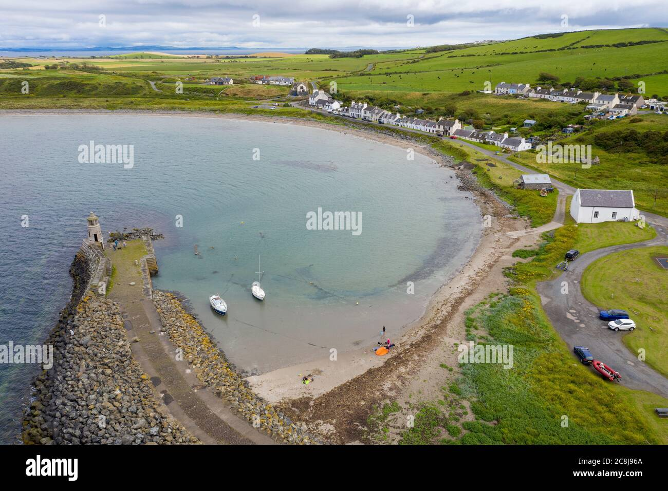 Aerial view of Port Logan, Dumfries & Galloway, Scotland. . Stock Photo