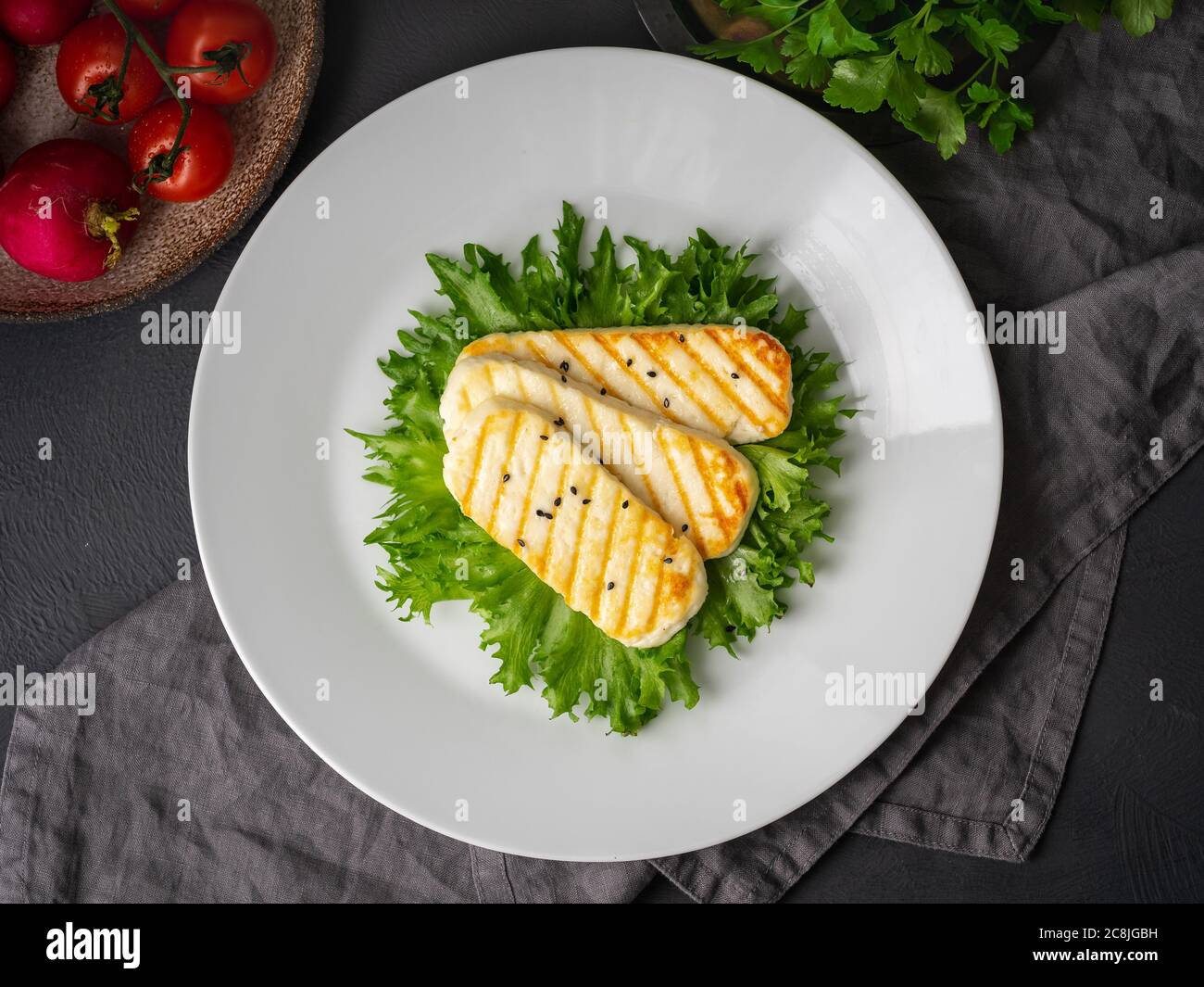 Grilled Halloumi Fried Cheese With Lettuce Salad Balanced Diet White Plate On Dark Background Top View Stock Photo Alamy