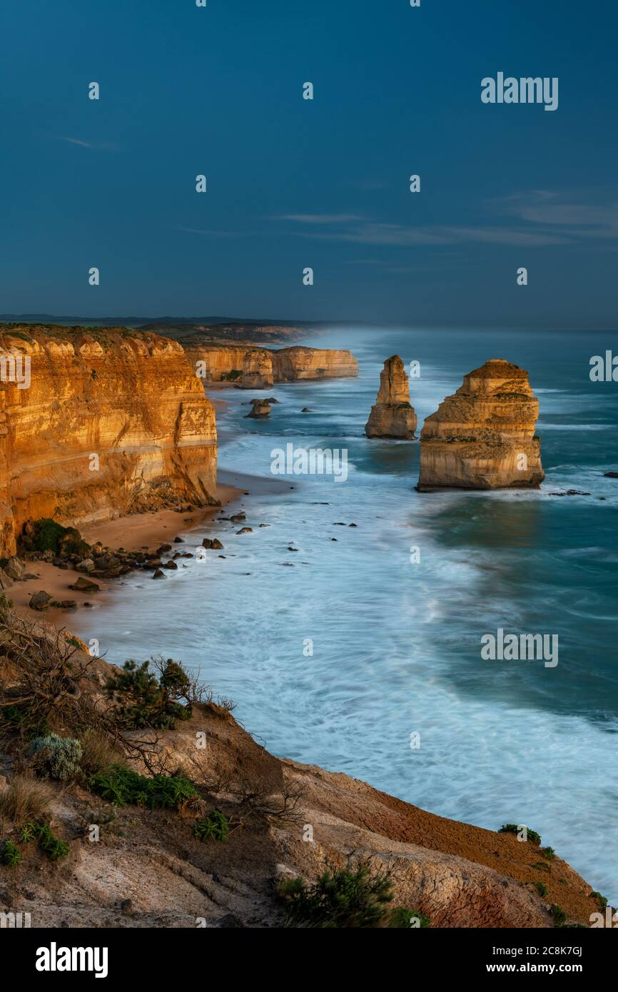 Iconic Twelve Apostles at the famous Great Ocean Road. Stock Photo