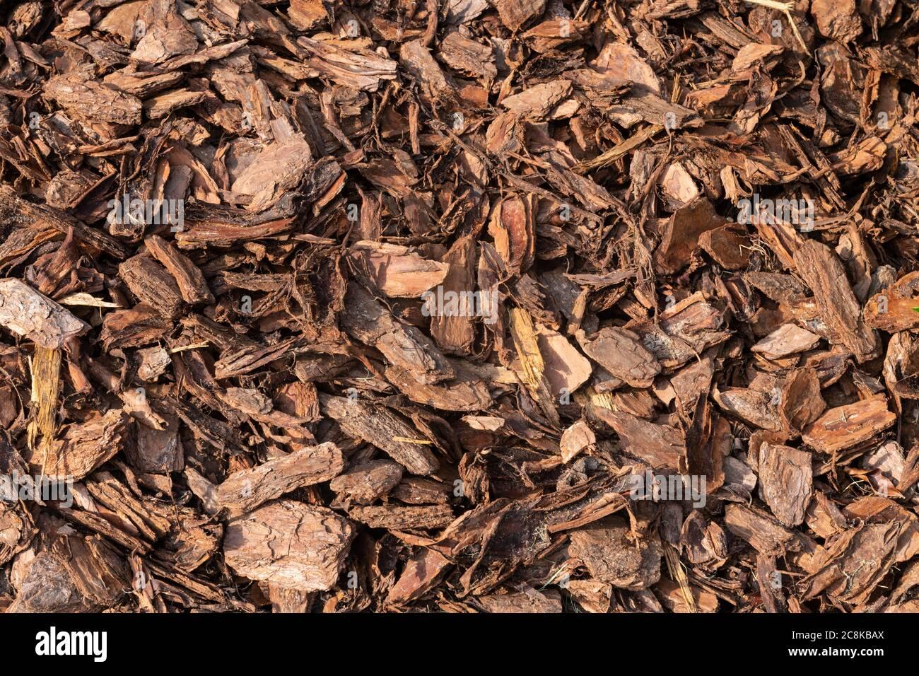 A Pine Bark Mulch Background Shot In The Afternoon Sun Stock Photo Alamy