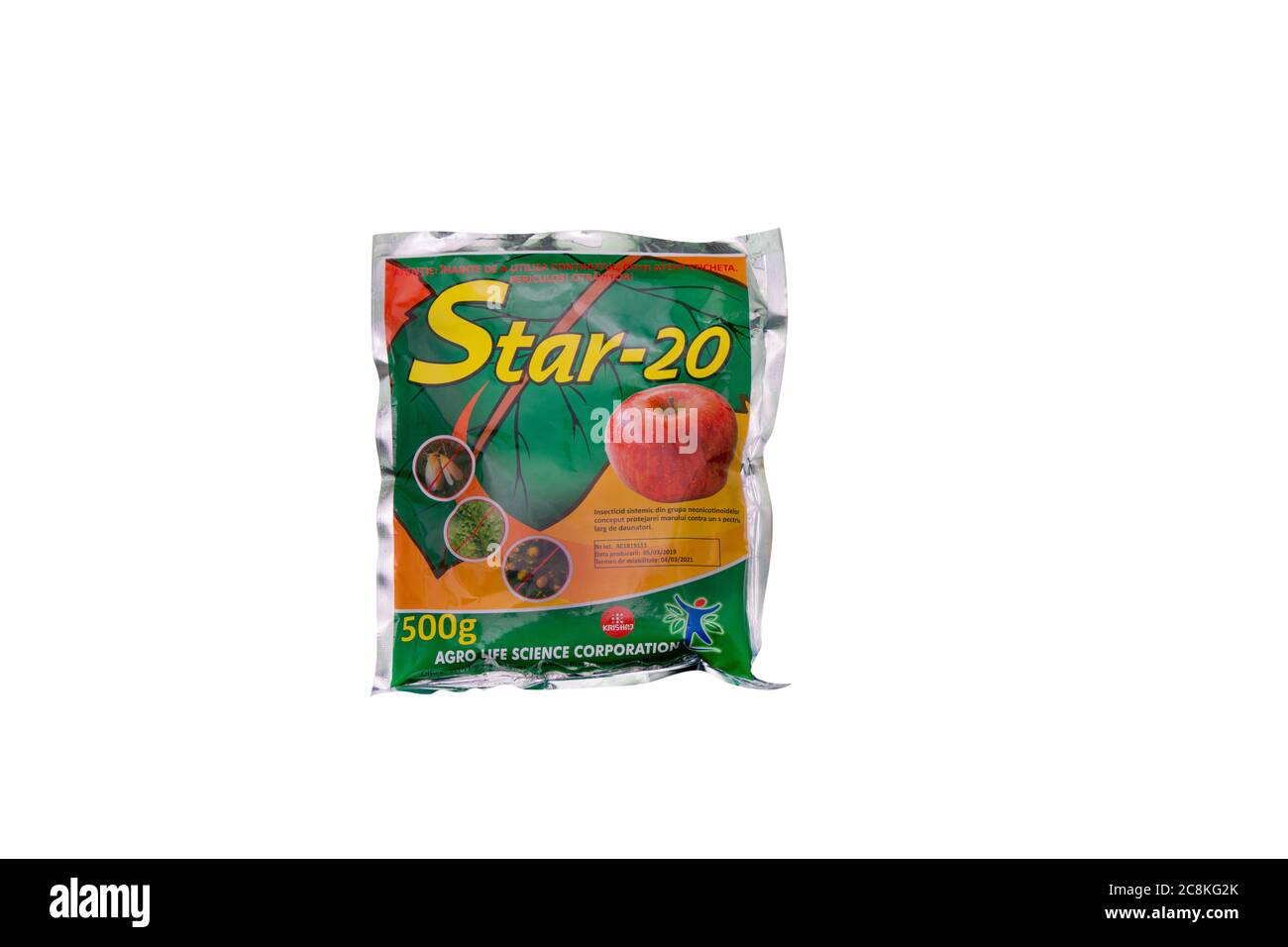 Moldova, Tiraspol - May 14, 2019:  Plant protection products, Insecticides - Star 20 (Mospilan). Isolate on a white background. Stock Photo