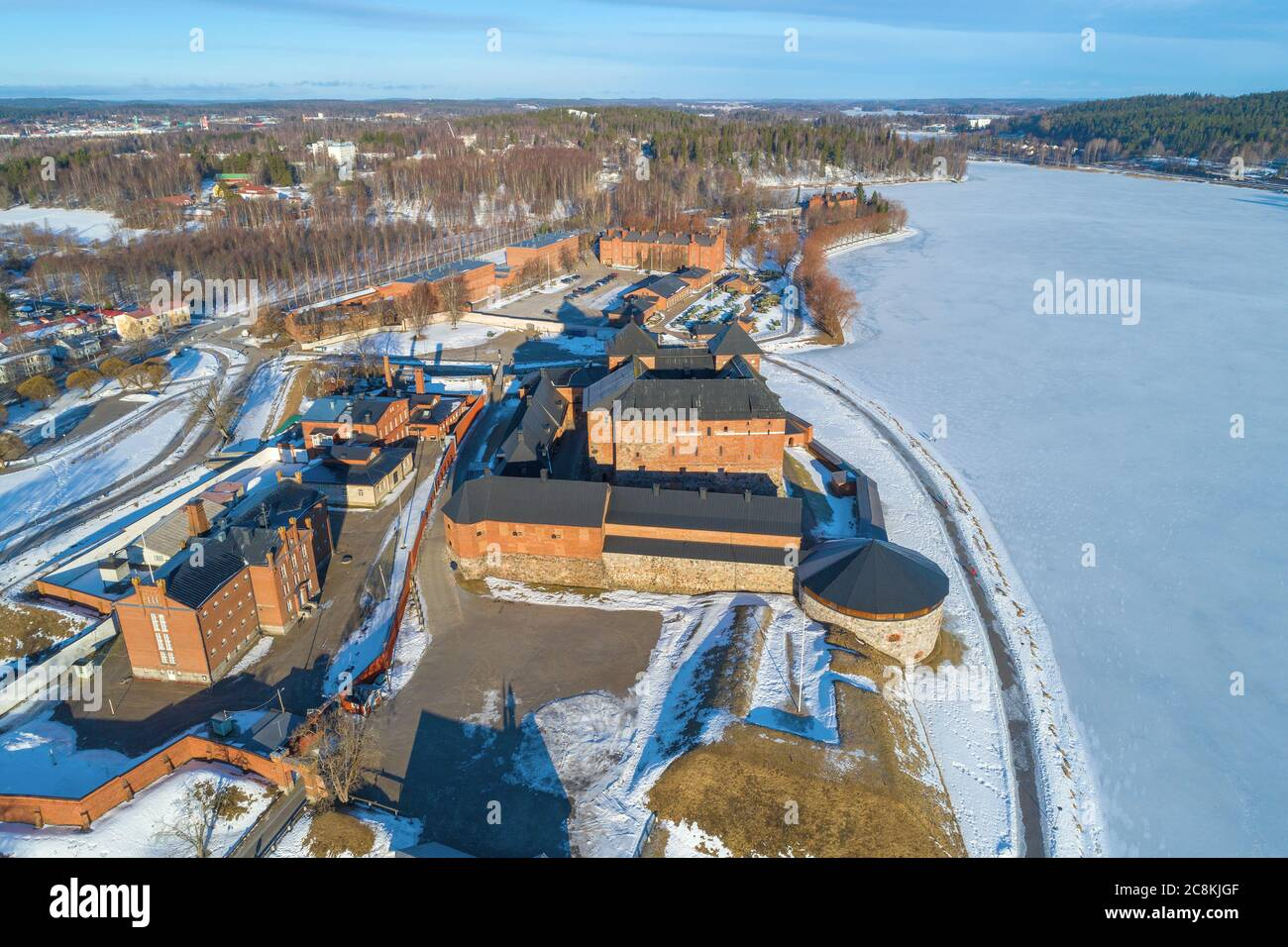 Top view of the complex of buildings of the old prison fortress of  Hameenlinna on a sunny March day. Finland Stock Photo