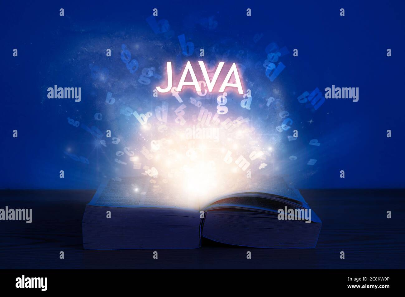 Open book with java inscription. Light coming from open book with word java. Learn programming language. Stock Photo