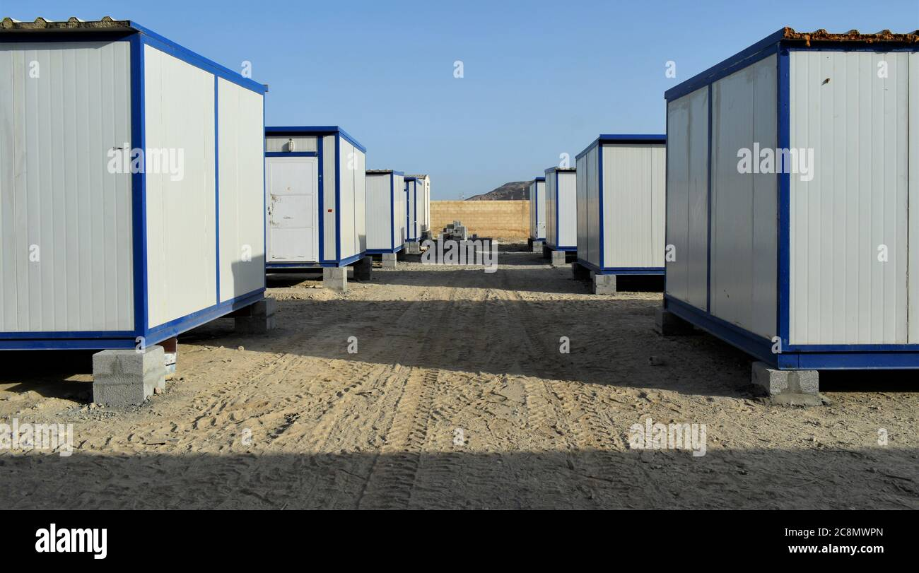 Portable House And Office Cabins Labour Camp Porta Cabin Small Temporary Houses Stock Photo Alamy