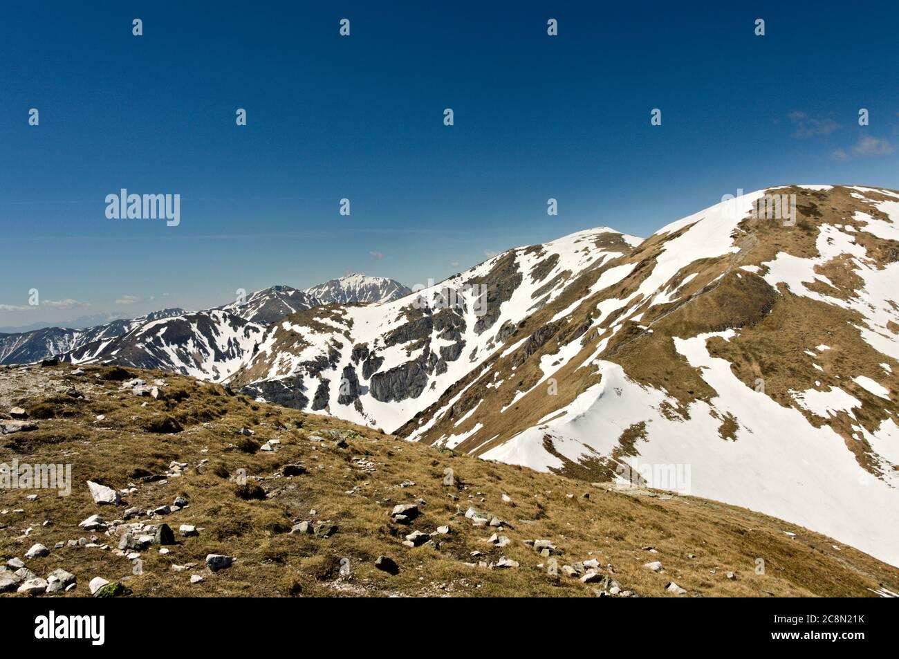 Poland Tatra Mountains. May in the Tatras. Blue sky. Stock Photo