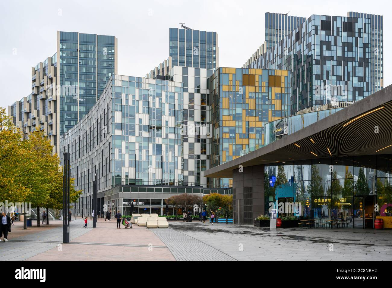 Peninsula Square is adjacent to the O2 Arena (Millennium Dome) in the Greenwich Peninsula, London, England, UK. Stock Photo