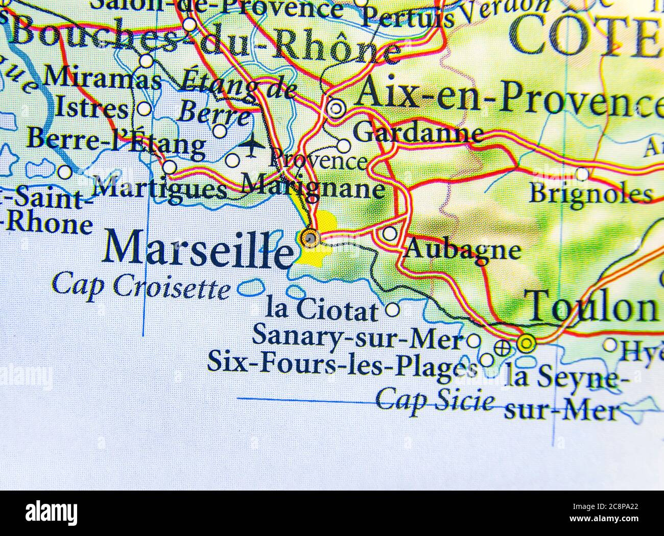 Geographic Map Of European Country France With Marseille City Stock Photo Alamy