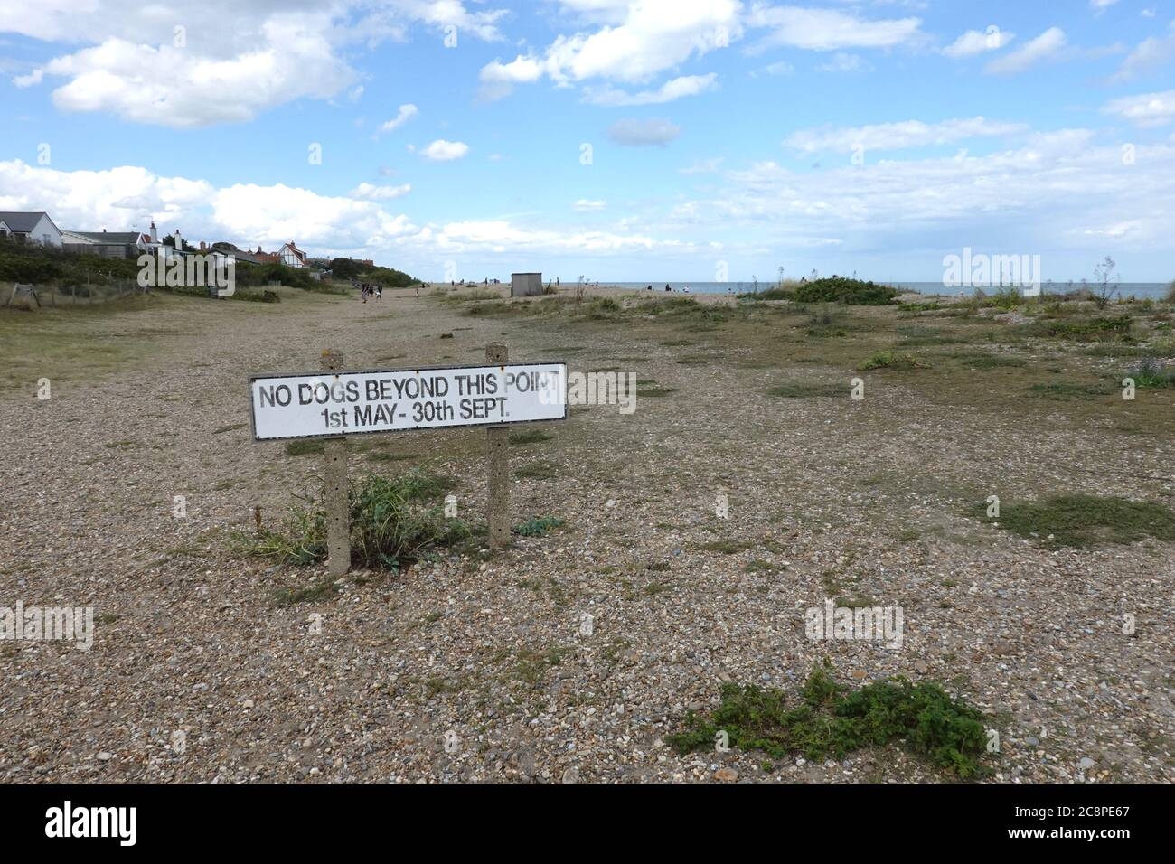 Aldeburgh, Suffolk , UK - 26 July 2020: Gorgeous weather on the east Anglian coast. No dogs allowed May to September. Stock Photo