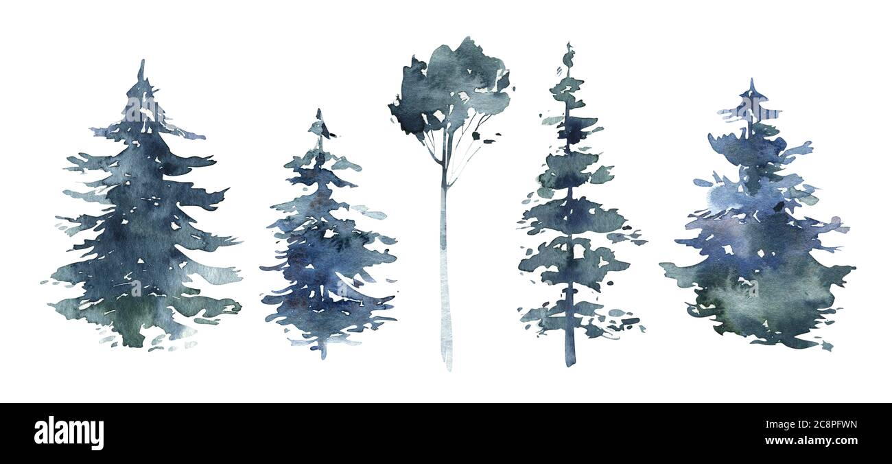Watercolor Winter Forest Christmas Tree Landscape With Pine Trees Fir In The Mountains Hand Painted Isolated On White Background Snow Holiday Stock Photo Alamy