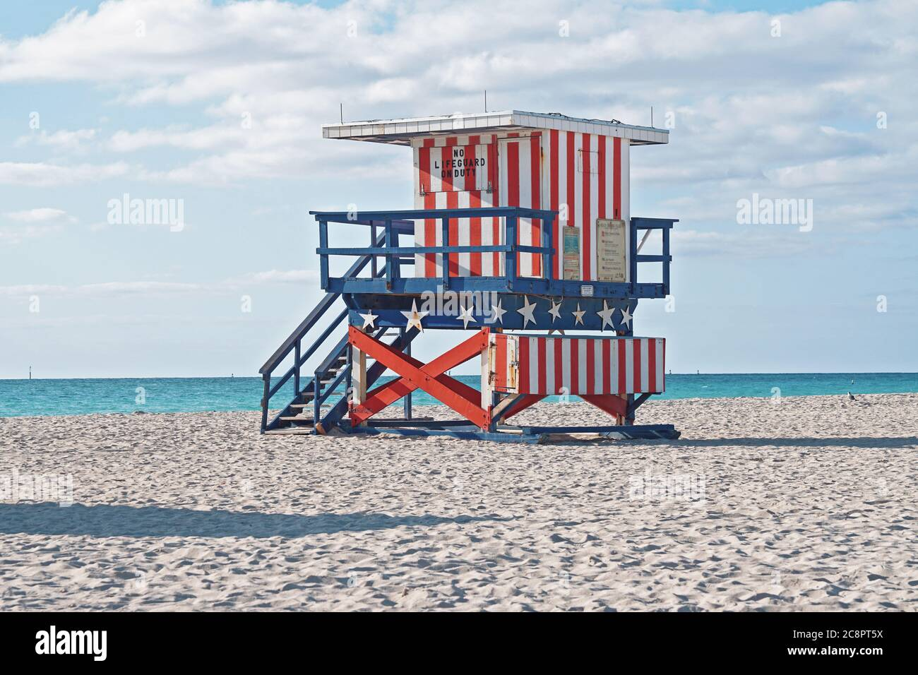 miami beach typical lifeguard tower stars and stripes painted on the beach Stock Photo