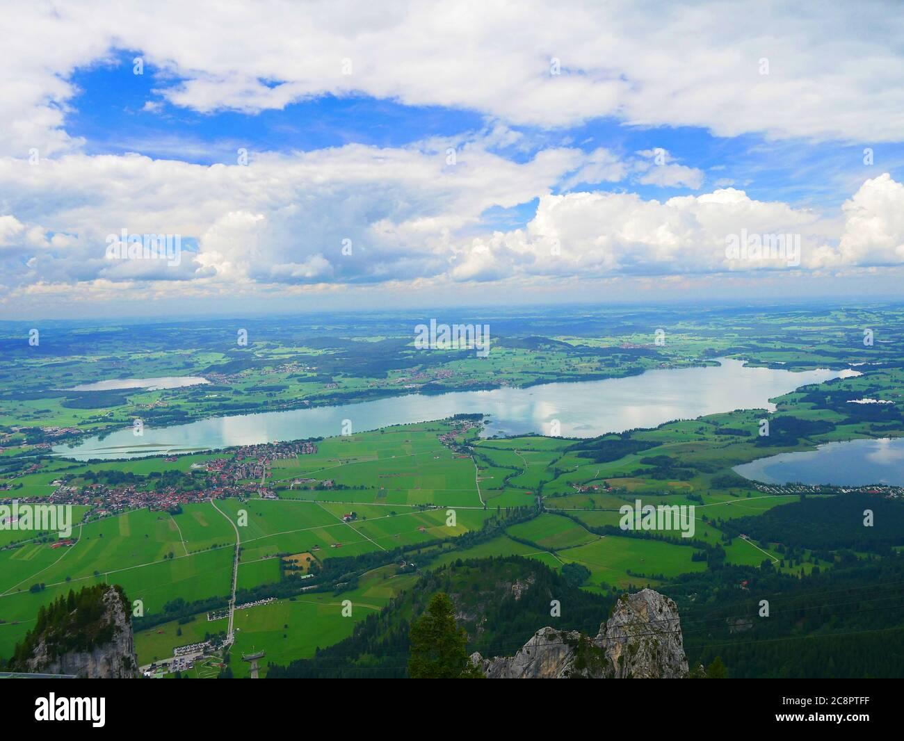 Füssen, Germany: View over Forggen lake, Bannwald lake and the Hopfen lake Stock Photo