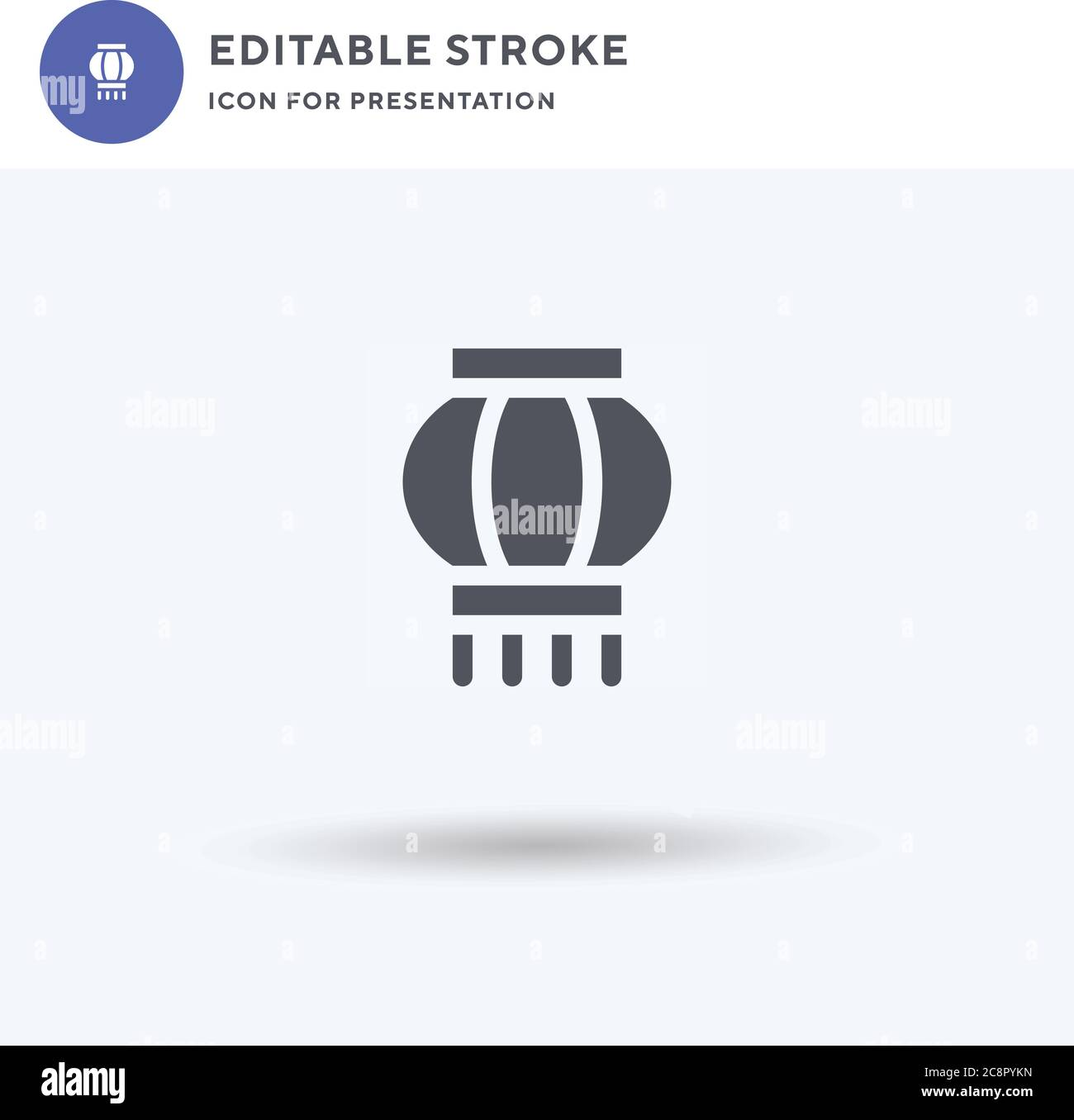 Paper Lantern icon vector, filled flat sign, solid pictogram isolated on white, logo illustration. Paper Lantern icon for presentation. Stock Vector