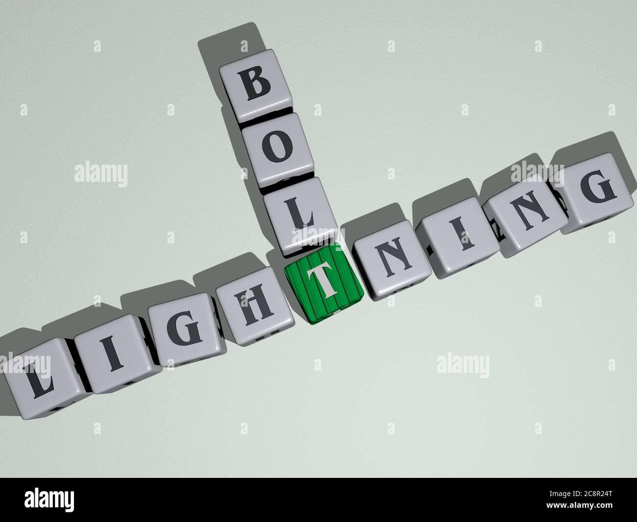 Crosswords Of Lightning Bolt Arranged By Cubic Letters On A Mirror Floor Concept Meaning And Presentation Illustration And Background 3d Illustration Stock Photo Alamy