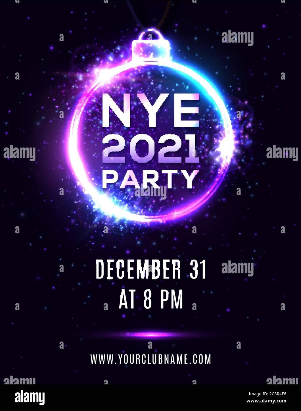 New Year Eve 11 party poster on dark blue background. NYE