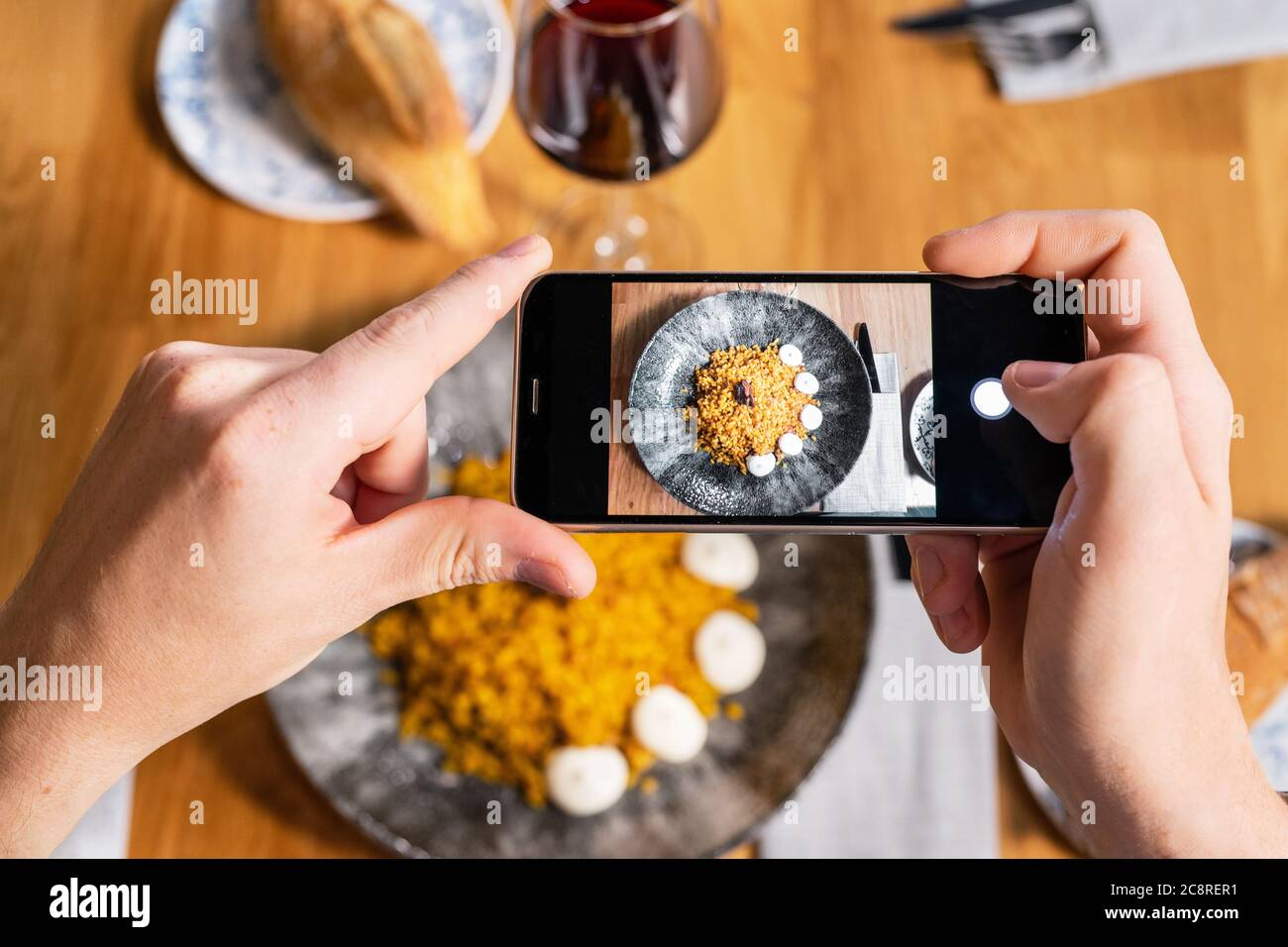 Man Hand With Smartphone Photographing Food At Restaurant Or Cafe High Quality Photo Stock Photo Alamy