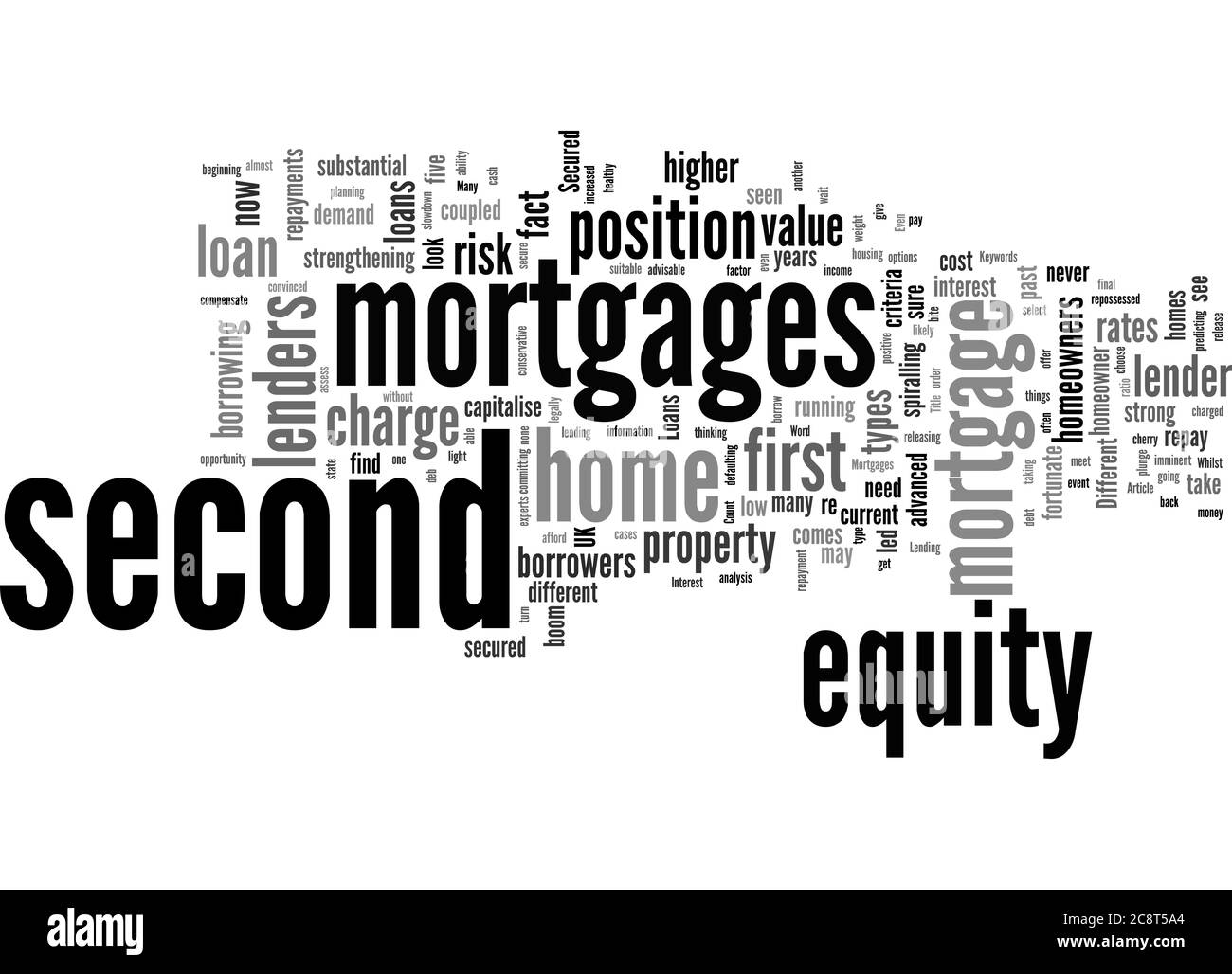 Word Cloud Summary of Secured Loans Second Mortgages Article Stock Photo