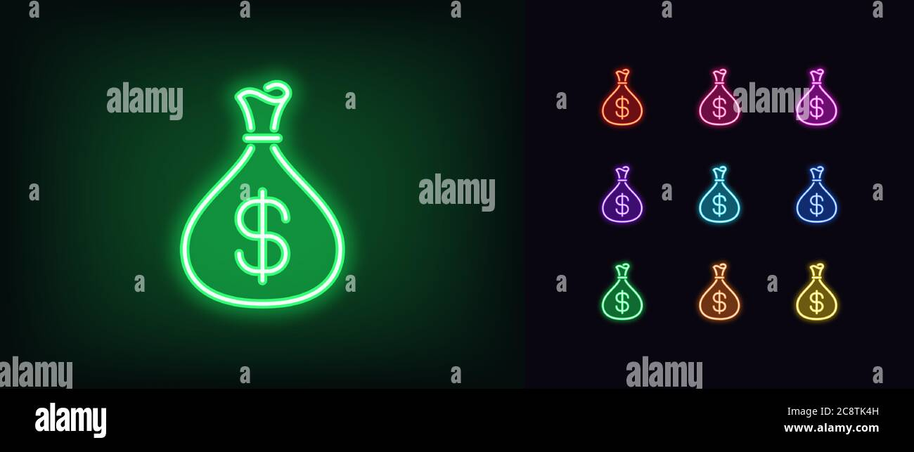 Neon money bag icon. Glowing neon income sign, pouch with dollar in vivid colors. Revenue, money deposit, investment profit, salary bonus. Icon set, s Stock Vector