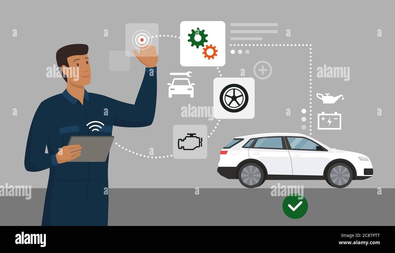 Mechanic Performing A Car Inspection Using A Digital App He Is Interacting With A Virtual User Interface Car Repair And Innovative Technology Concep Stock Vector Image Art Alamy