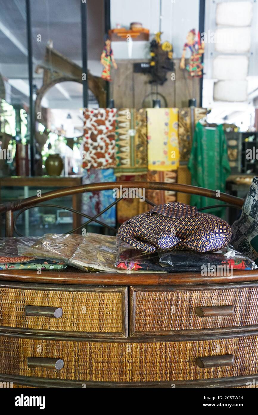 Interior Design And Decoration Of Restaurant And Cafe Decorated With Displayed Thai Silk Fabric Cloth And Traditional Souvenir On Wooden Shelf Stock Photo Alamy