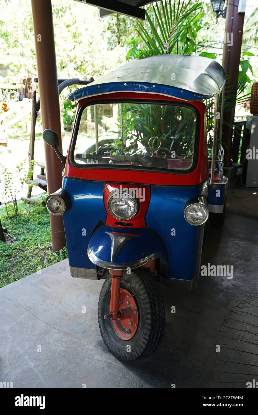 Interior Design And Decoration Of Local Restaurant And Cafe Decorated With Tuk Tuk Colorful Three Wheeled Thai Taxi Phang Nga Thailand Stock Photo Alamy