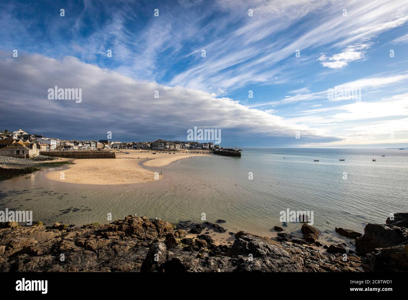 St Ives Cornwall harbour Landscape Stock Photo