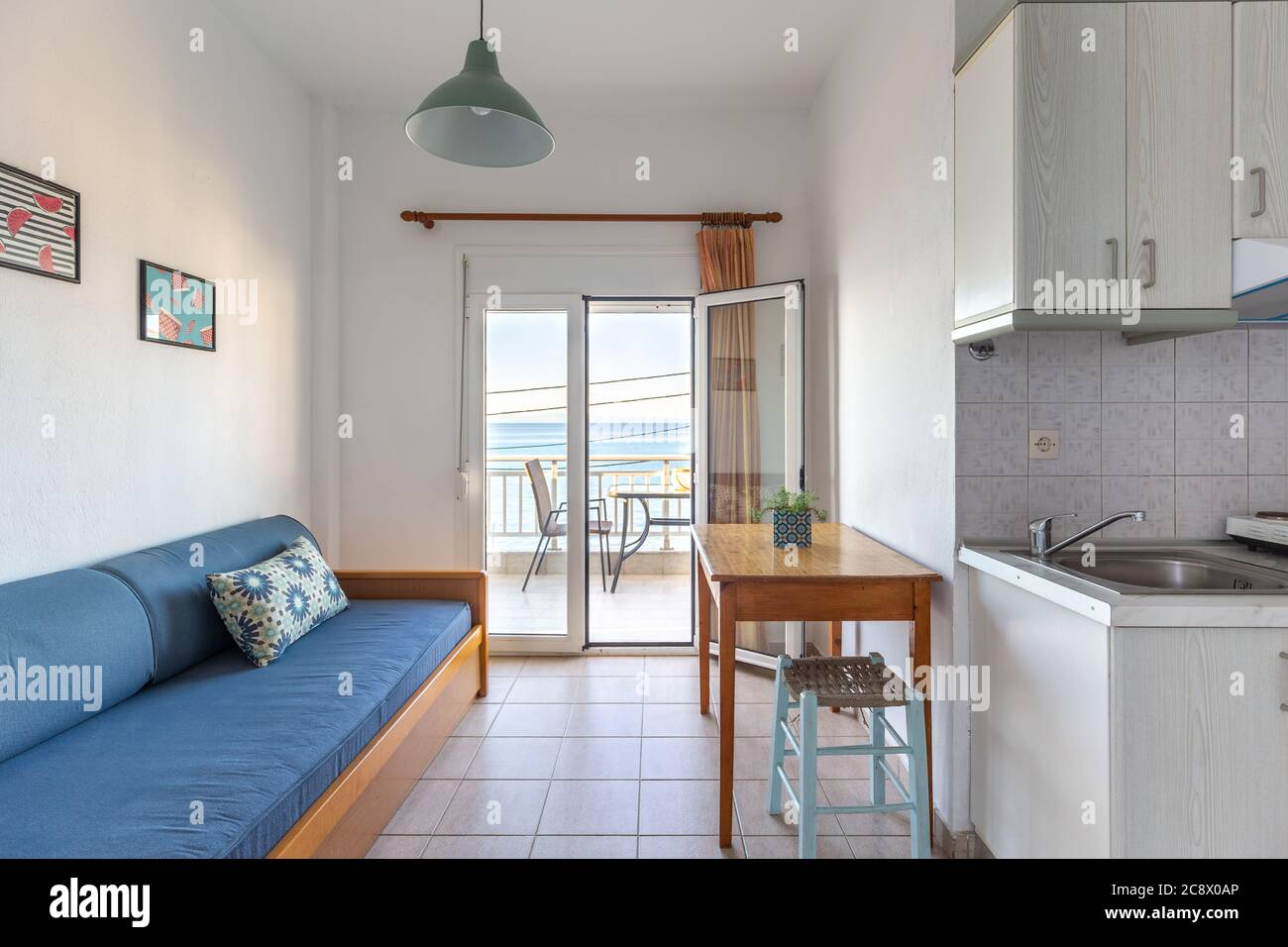 Organization Of A Sleeping Rest And Cooking Space In The Hotel Apartments For Seasonal Rest For Tourists At The Sea In Places Of Relaxation In Sunny Stock Photo Alamy