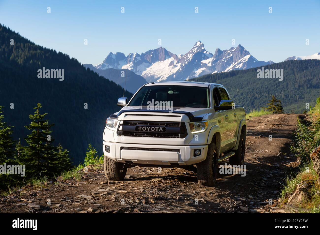 Toyota Tacoma Riding On The 4x4 Offroad Trails In The Mountains Stock Photo Alamy