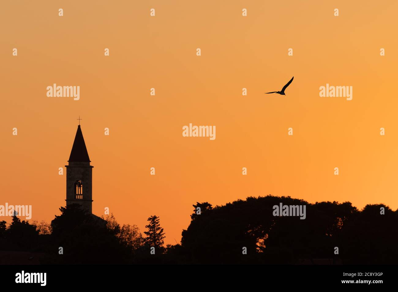 Silhouette of christian church on Croatian island Ugljan and seagull flying in bright orange sunset sky. Religion, faith, hope, travel and tourism Stock Photo