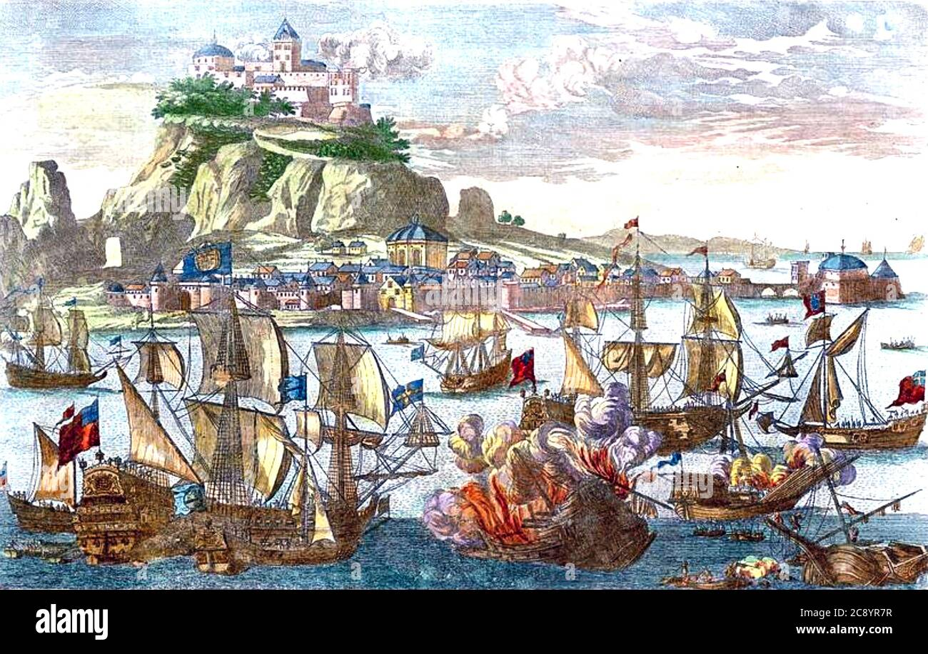 GIBRALTAR Contemporary print showing Anglo-Dutch forces capturing the town and rock in 1704 during the War of the Spanish Succession. Stock Photo