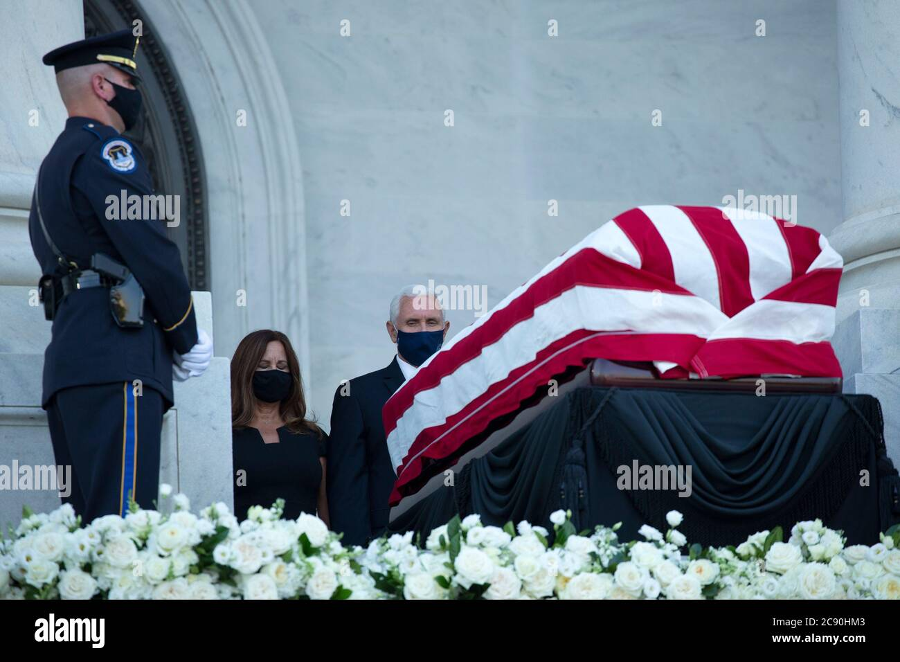 Karen Pence Left And United States Vice President Mike Pence Pay Their Respects As Representative John