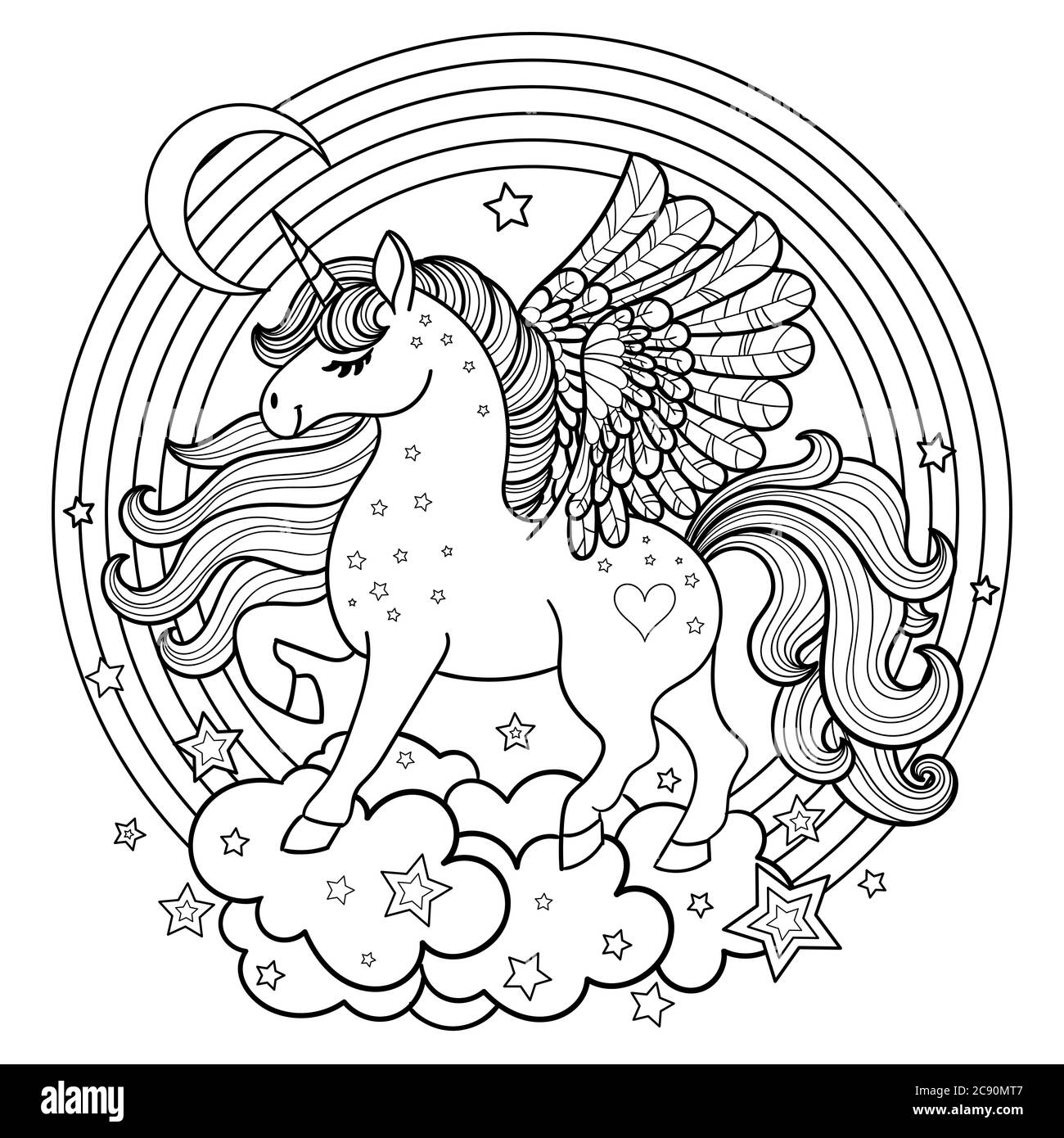 Cute Cartoon Unicorn In A Round Rainbow Black And White Image For The Design Of Coloring Books Prints Posters Cards Tattoos Vector Stock Art Alamy